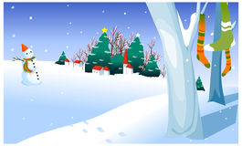 The view of Snowman in yard Royalty Free Stock Photos