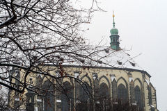 View of the snowy Church of Our Lady of the Snows in Prague. Czech Republic, tourism Stock Photography