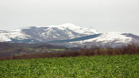 View of snowy Gorbea mountain. Basque Country, Spain royalty free stock photo