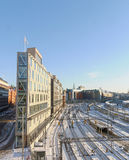 View of the snowy marshalling yard in Stockholma beautiful day Stock Photography