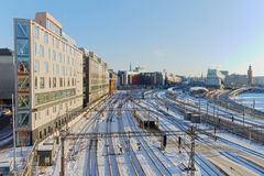 View of the snowy marshalling yard in Stockholma a beautiful day Royalty Free Stock Image
