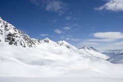 View of snowy mountain range Royalty Free Stock Images