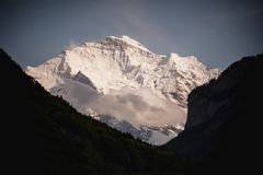 View on snowy mountain in summer Royalty Free Stock Image