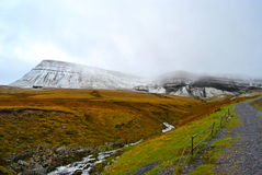 View on the snowy mountains Picws Du and Fan Foel, Brecon Beacons national park, Wales Royalty Free Stock Photos