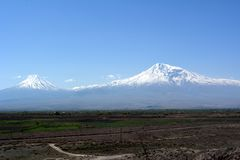 View of the snowy peaks of Mount Ararat from Armenia side.  Royalty Free Stock Photography