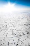 View of the snowy plain. From a height of 5000 meters Stock Image