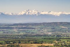 Snowy Pyrenees. View of the snowy Pyrenees from verdun en lauragais Stock Photography