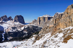 View on the snowy Sella mountains in Italy Stock Images