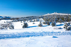 A view on a snowy valley Royalty Free Stock Images