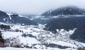 Top view on snowy village luesen valley south tirol Italy stock photography