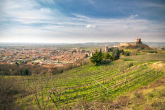 View of Soave (Italy) and its famous medieval castle Stock Photography