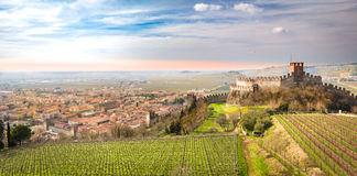 View of Soave (Italy) and its famous medieval castle Royalty Free Stock Photos