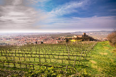 View of Soave (Italy) and its famous medieval castle Royalty Free Stock Image