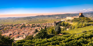 View of Soave Italy and its famous medieval castle Stock Photography