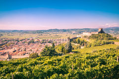 View of Soave Italy and its famous medieval castle Royalty Free Stock Image