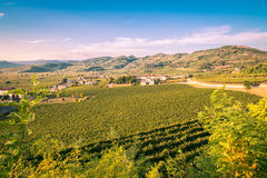 View of Soave Italy surrounded by vineyards. Royalty Free Stock Images