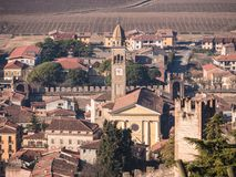 View of Soave Italy surrounded by vineyards. View of Soave Italy surrounded by vineyards that produce one of the most appreciated Italian white wines Royalty Free Stock Photos