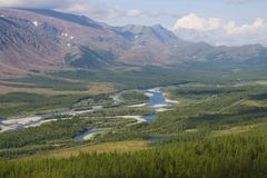 View of the Sob River valley. Polar Ural, Russia. View of the Sob River valley. Polar Ural. Russia stock photos