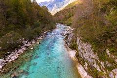 View of Soca river in Slovenia Stock Photo