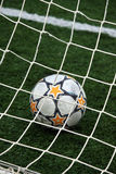 View of a soccer ball inside the goalpost Stock Photography