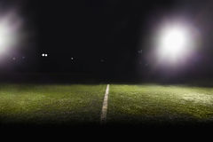 View of soccer field at night. View of soccer field with lights Stock Photo