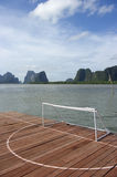 View of soccor court on the sea in Thailand Royalty Free Stock Image