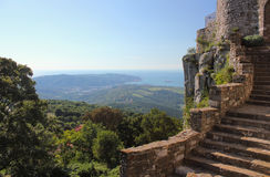 View from Socerb castle, Slovenia. View from Socerb castle towards Slovenia and Italy border coastline with part of Trieste bay Stock Photos