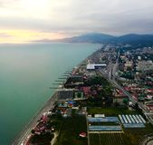 View of Sochi from the plane royalty free stock photo