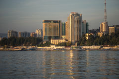View of Sochi from the sea. The beautiful city of Sochi Royalty Free Stock Photos