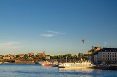 Sodermalm island coast near Lake Malaren water, Stockholm, Swede stock photos