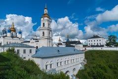 View of the Sofia vzvoz. Tobolsk Kremlin. Tobolsk, Russia - July 15, 2016: Kremlin. View on Sofia vzvoz, Rentereya, belltower and St Sophia-Assumption Cathedral Stock Images