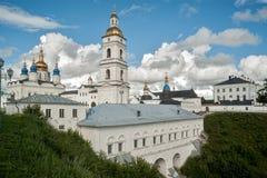 View of the Sofia vzvoz. Tobolsk Kremlin. Tobolsk, Russia - July 15, 2016: Kremlin. View on Sofia vzvoz, Rentereya, belltower and St Sophia-Assumption Cathedral Royalty Free Stock Image