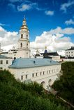 View of the Sofia vzvoz. Tobolsk Kremlin. Tobolsk, Russia - July 15, 2016: Kremlin. View on Sofia vzvoz, Rentereya, belltower and St Sophia-Assumption Cathedral Stock Photography
