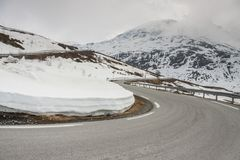 Road to highest pass in Norway. Royalty Free Stock Photos
