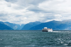 View of Sognefjord with the boat sailing away Stock Images