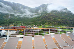 View of Sognefjord port from board of cruise liner Royalty Free Stock Photo