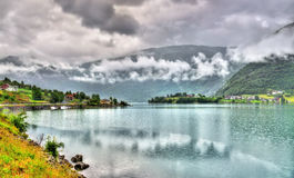 View of Sognefjorden fjord at Sogndal village - Norway Royalty Free Stock Image