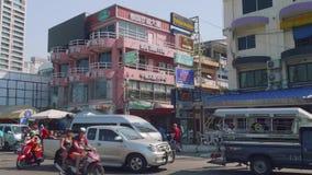 Phatthaya, Thailand - circa January 2018: View of SOI 6 street in Phatthaya street stock video