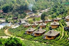 View of soil house resort in tea plantation at Lee Wine Ban Rak. Thai, Mae Hong Son, Thailand Stock Images