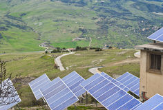 View of solar panels in the Madonie mountains. Sicily Stock Photos