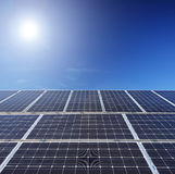 View of a solar photovoltaic cell panels under sun Stock Photo
