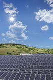 View of a solar photovoltaic cell panels under sunny sky, Macedo Royalty Free Stock Photo