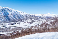 View on Solheisen Skisenter. And Valley Grondola. Hemsedal, Norway Royalty Free Stock Photo