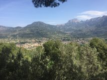 View of Soller, on the island of Mallorca, from on high. View of Soller, on the island of Mallorca, from a little stop along the narrow gauge train track Royalty Free Stock Images