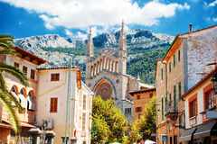 View of Soller in Mallorca. Beautiful view of Soller and Cathedral Sant Bartomeu, Mallorca, Spain