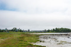 View on Solovetsky monastery from the White sea coast. Royalty Free Stock Photos