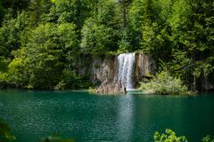 View of some of the beautiful lakes of the national park and as the protagonist of the photo a waterfall. View of some of the beautiful lakes of the national Stock Images