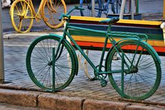 Odessa, Ukraine. Street art monument. View of some bycicle monuments, fixed in a city center street royalty free stock photos