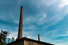 View at some chimney. At a german factory Stock Photo