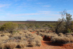 A view from some distance on Mount Conner in the Outback of the Northern Territory in Australia. Landscape at Mount Conner in Central Australia royalty free stock photography